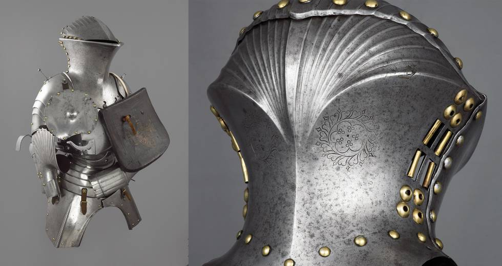 Two photos of upper body armour, one of helmet detail