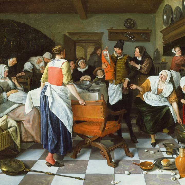 Celebrating the Birth by Jan Steen, 1664.jpeg