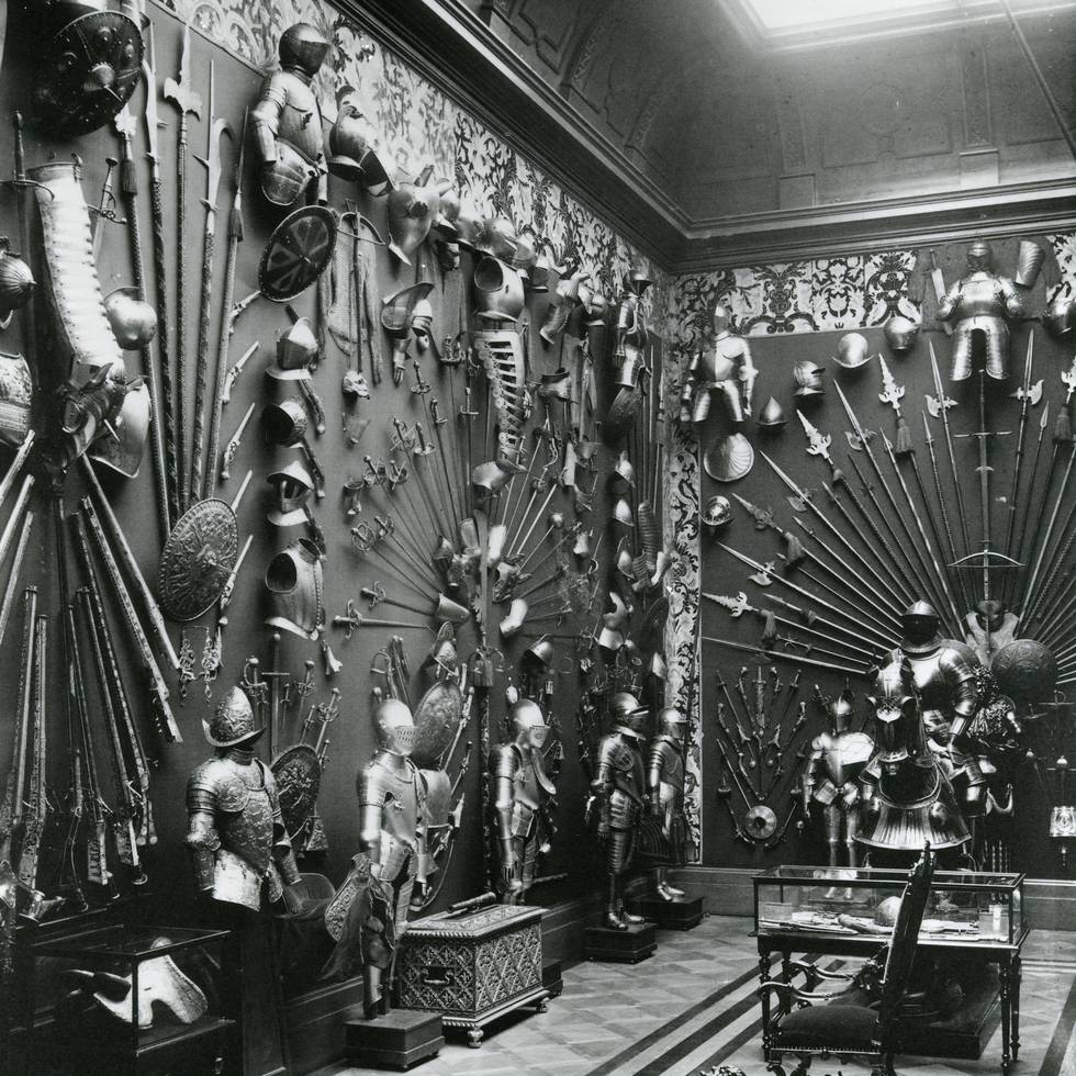 Black and white photo of European Armoury at The Wallace collection1890