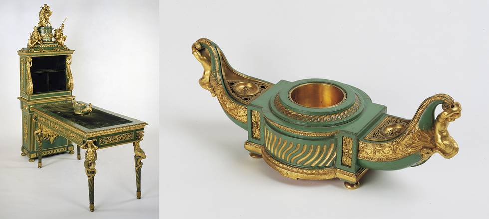 Two photos of green and gilt bronze writing desk, filing cabinet and inkstand