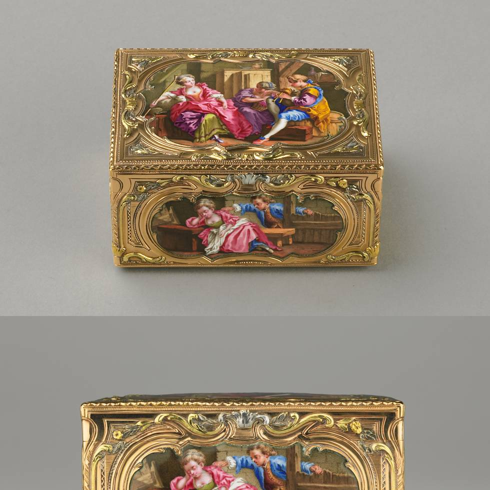 Gold and enamel box, images of a shepherdess on all sides.