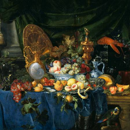 Still life of fruit, lobster and jug on table
