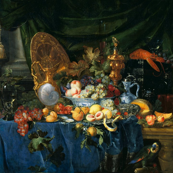 P107, Still Life with Parrot, Pieter de Ring