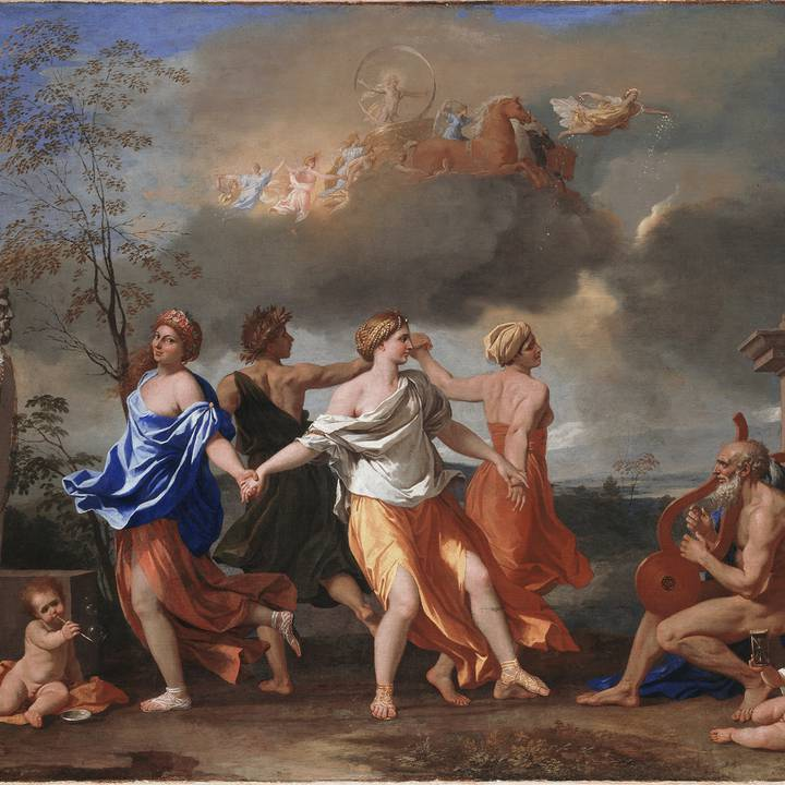 Four figures dancing in a circle with horse drawn carriage in the sky