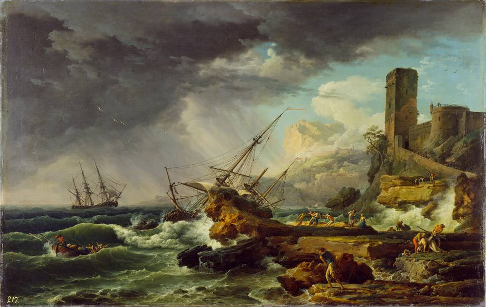 Seascape of a shipwreck by rocks in a storm