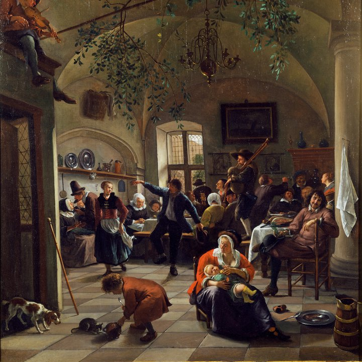 Tavern scene with dancers, mothers, children and merry-makers