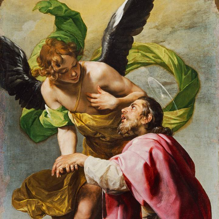 Angel guides man who kneels in front of him