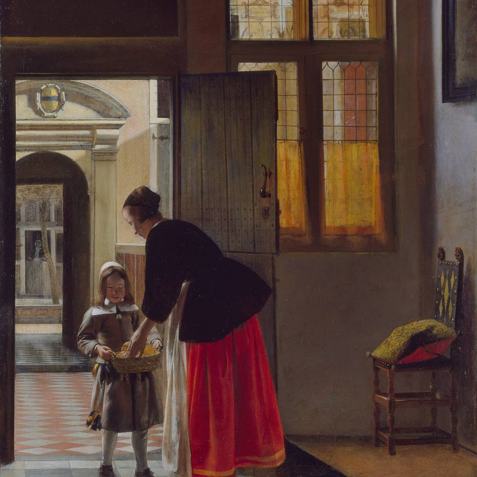 Painting of a boy offering bread to a women in an interior