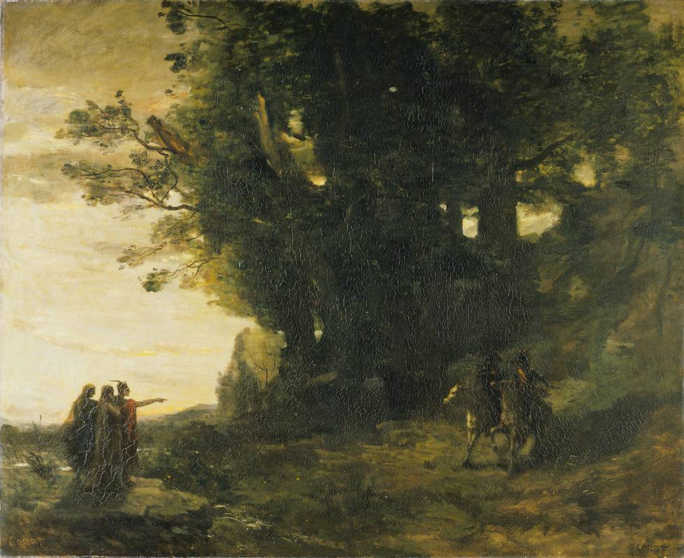 Landscape of two men on horses meeting 3 witches