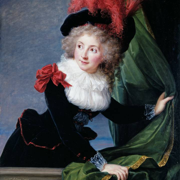 Three-quarter length portrait of a women leaning over balcony with curtain