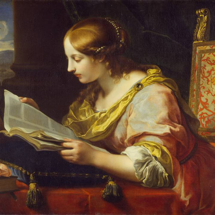 Painting from 1670 of a woman in a silk dress sitting at a desk reading