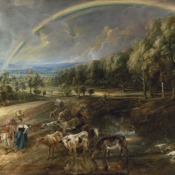 Taken in 2019. Countryside landscape of haymakers, milkmaids and cattle under a rainbow