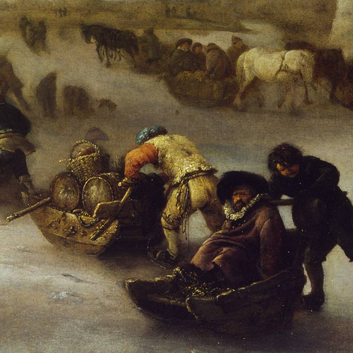 Detail of winter landscape, figures pushing sledges on ice