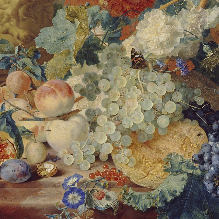Detail of still life of fruit, flowers and butterflies